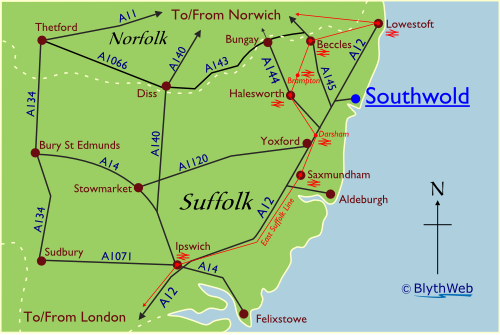 Location of Southwold in Suffolk