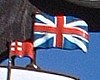 Extract from the Southwold Town Sign showing the old British Flag from the period of the Battle of Sole Bay