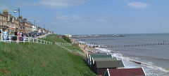Southwold seafront with the pier in distance.